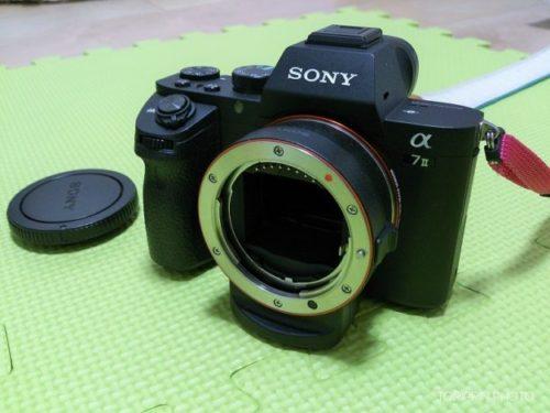 SONY純正マウントアダプターLA-EA3をα7Ⅱに装着した画像