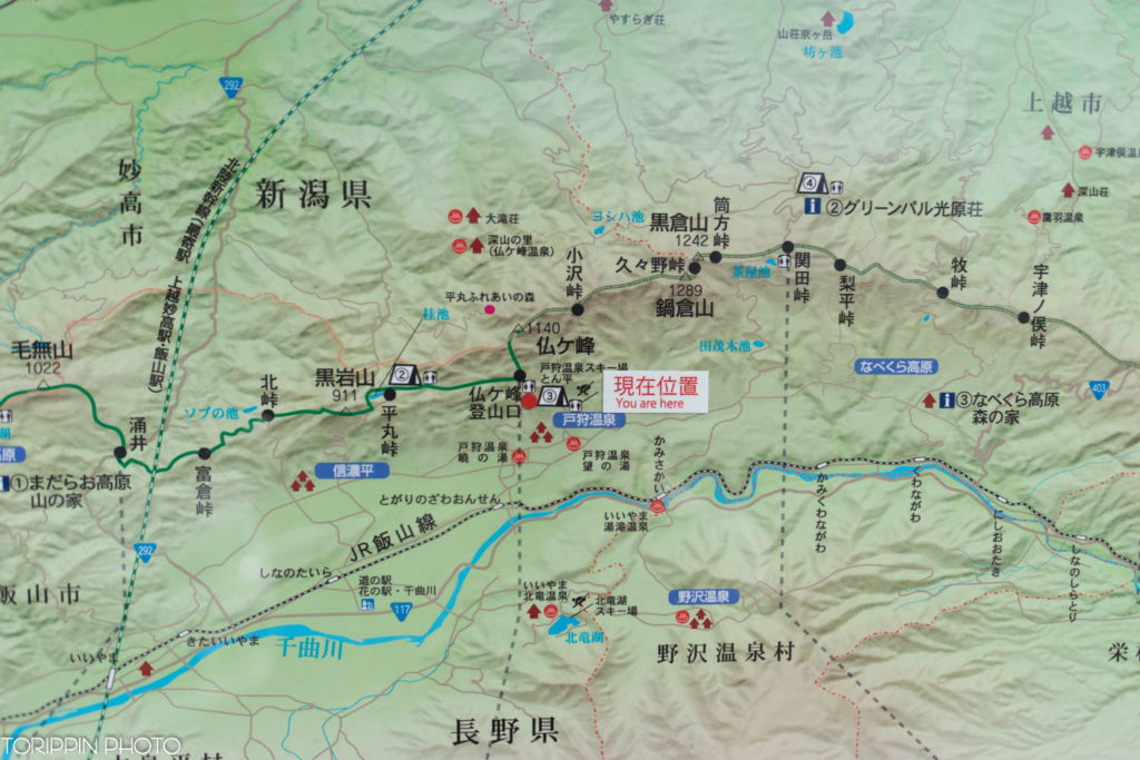 仏ヶ峰登山口のマップ